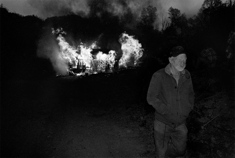 JD Thomas Walking Away from his Burning Home Place, Sprinkle Creek, Madison County, NC 1997