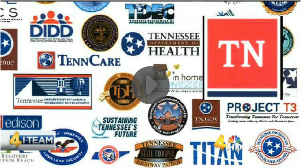 A screenshot from WSMV's story showing a screenshot of the new logo on top of what are probably screenshots of some of the many department logos.