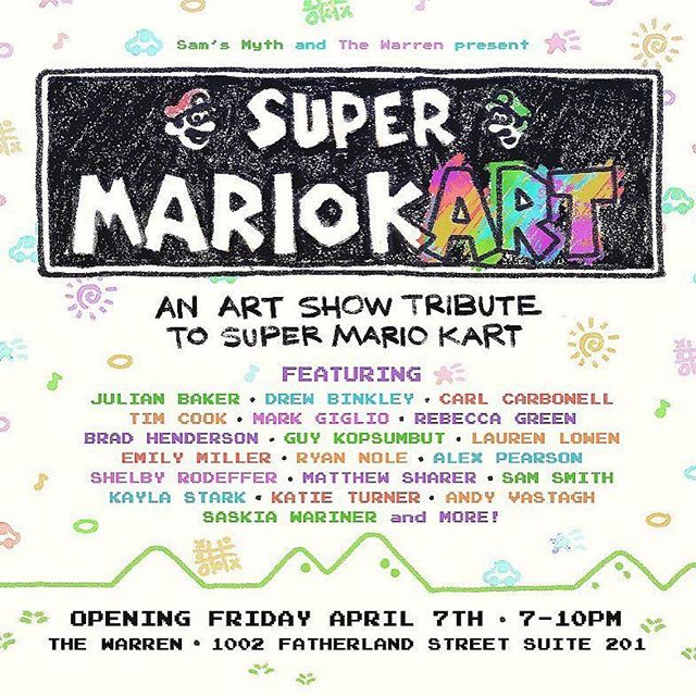 ONE WEEK FROM TODAY!  A Mario Kart inspired art show, in honor of the 20th anniversary of Mario Kart 64 and an entire franchise of games so beloved to generations.  favorite local artists & kartists for what is sure to be a fun and imaginative collection of SMK-inspired pieces, all on display thanks to the amazing women of @thewarrennashville. Opening FRIDAY APRIL 7th from 7-10pm so COME HANG. Also on display for the @artstumble Saturday night the 8th. Here we goooo!  #kartart #mariokart #supermariokart #mariokart64 #mariokart8 #mariokart8deluxe #nintendo #nes #snes #mario #artshow #art #fanart