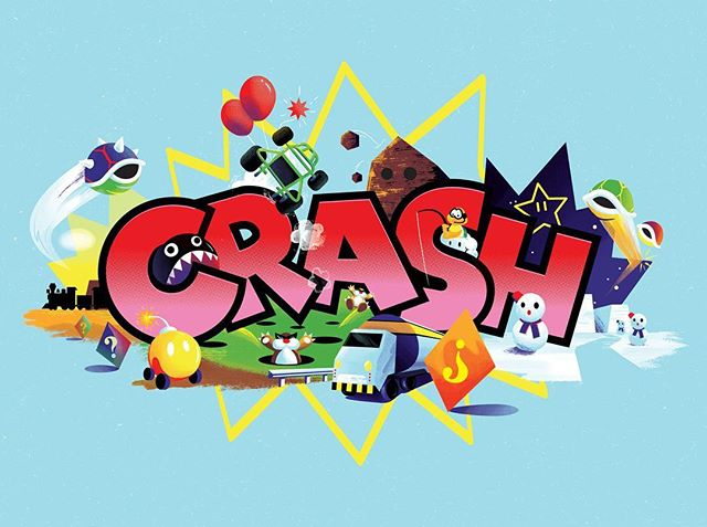 CRASH one of my prints for Super Mario kART, a tribute art show that hung last week. Inspired by the items/ obstacles that trigger the CRASH sprite in Mario Kart 64. Still got a few left message me if you're into that kind of thing!