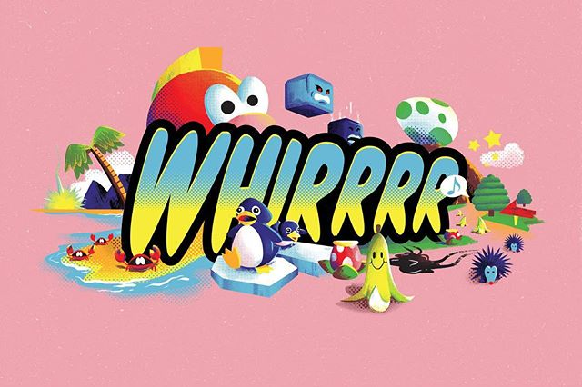 WHIRRRR one of my prints for Super Mario kART, a tribute art show that hung this month. Inspired by the items/ obstacles that trigger the WHIRRRR sprite in Mario Kart 64. Still got a few left message me if you're into that kind of thing!