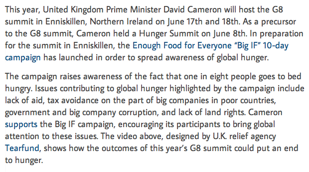 Hunger in a Museum? Big IF Campaign in Progress in Preparation for Upcoming G8 Summit