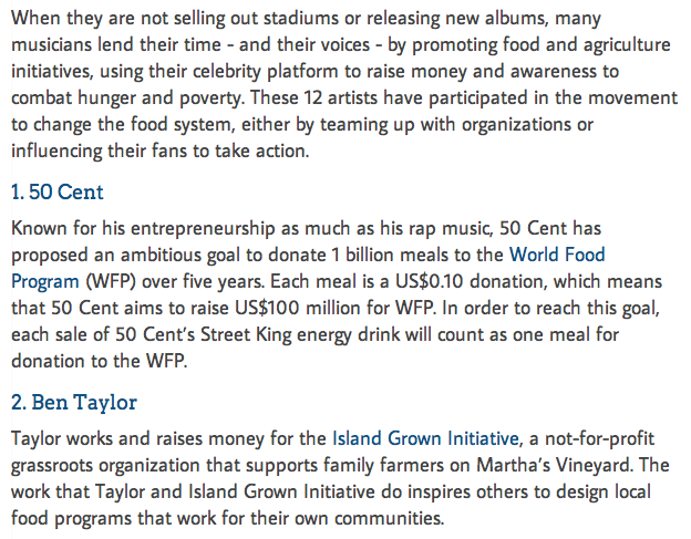 12 Musicians Promoting Food Movement Initiatives