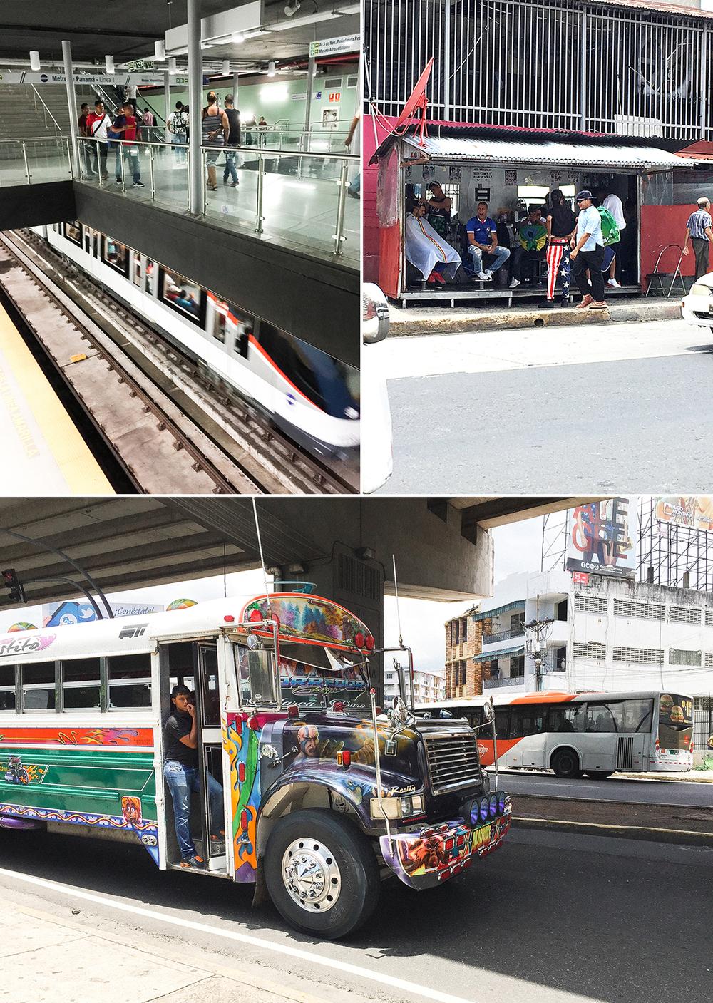 """La nueva estación del metro y los famosos """" Diablo Rojo """" que los puedes abordar luego de ir al Barbero, en plena calle, me encanta!!..."""