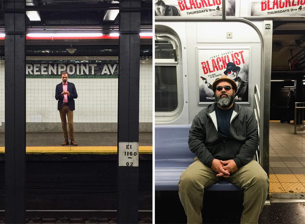 """Me encanta observar a la gente tomando el """"subway""""...y aqui, mi esposo parece ser sacado de unos de los carteles...jajaja."""