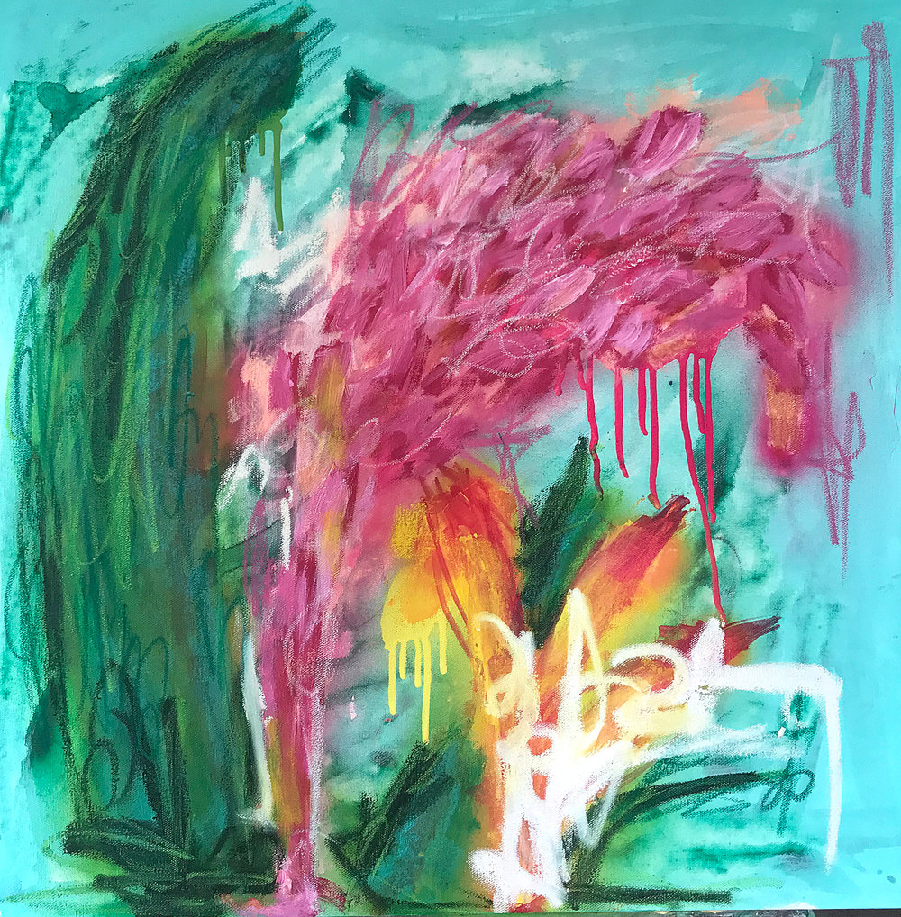 Tropical 3 - 24x24 - Mix Media on Canvas