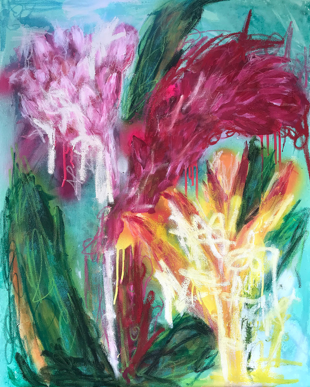 24x30 - Tropical 3 - Mix Media on Canvas