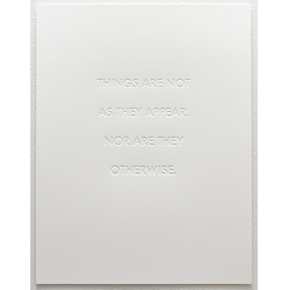 "Untitled 2011 blind embossed letter press print on paper 10"" x 12"" edition of 30"