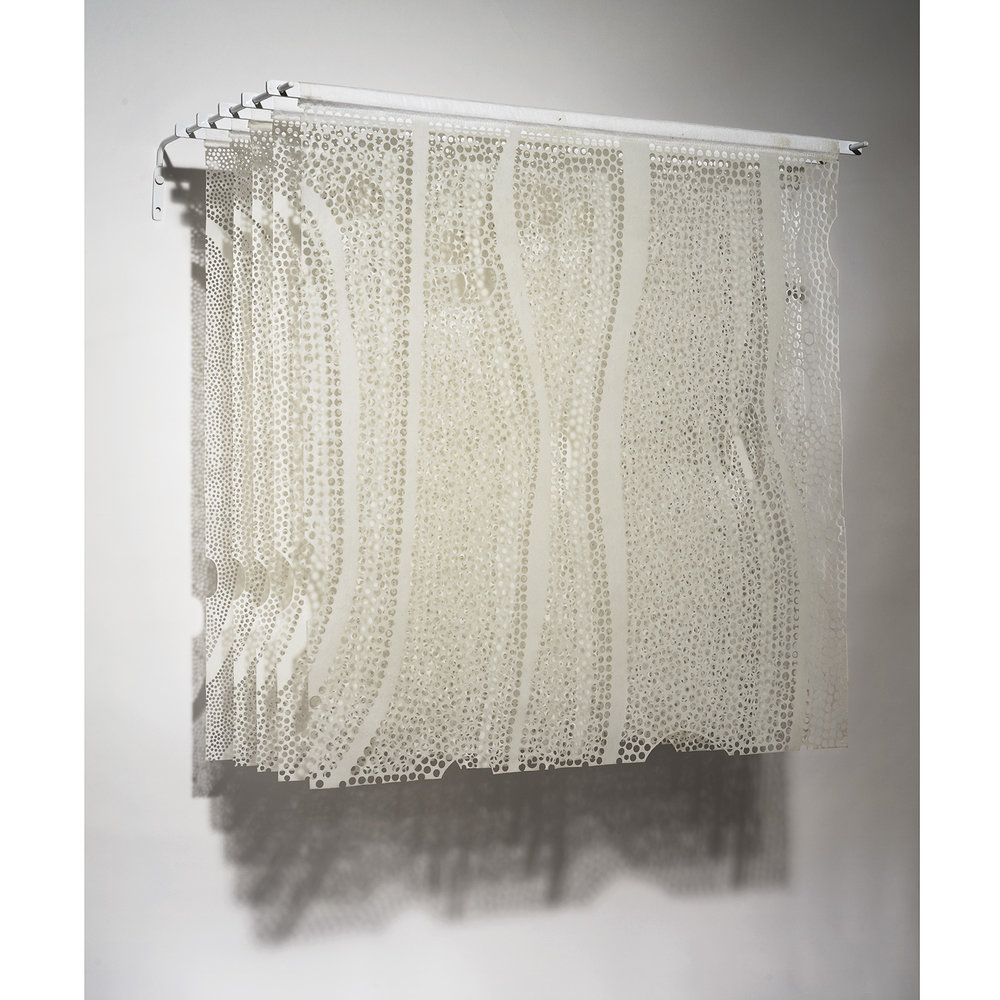 "Preservation  2006 Beeswax, tree resin, non-woven backing textiles (Pellon), aluminum 23"" x 24"" x 9"""