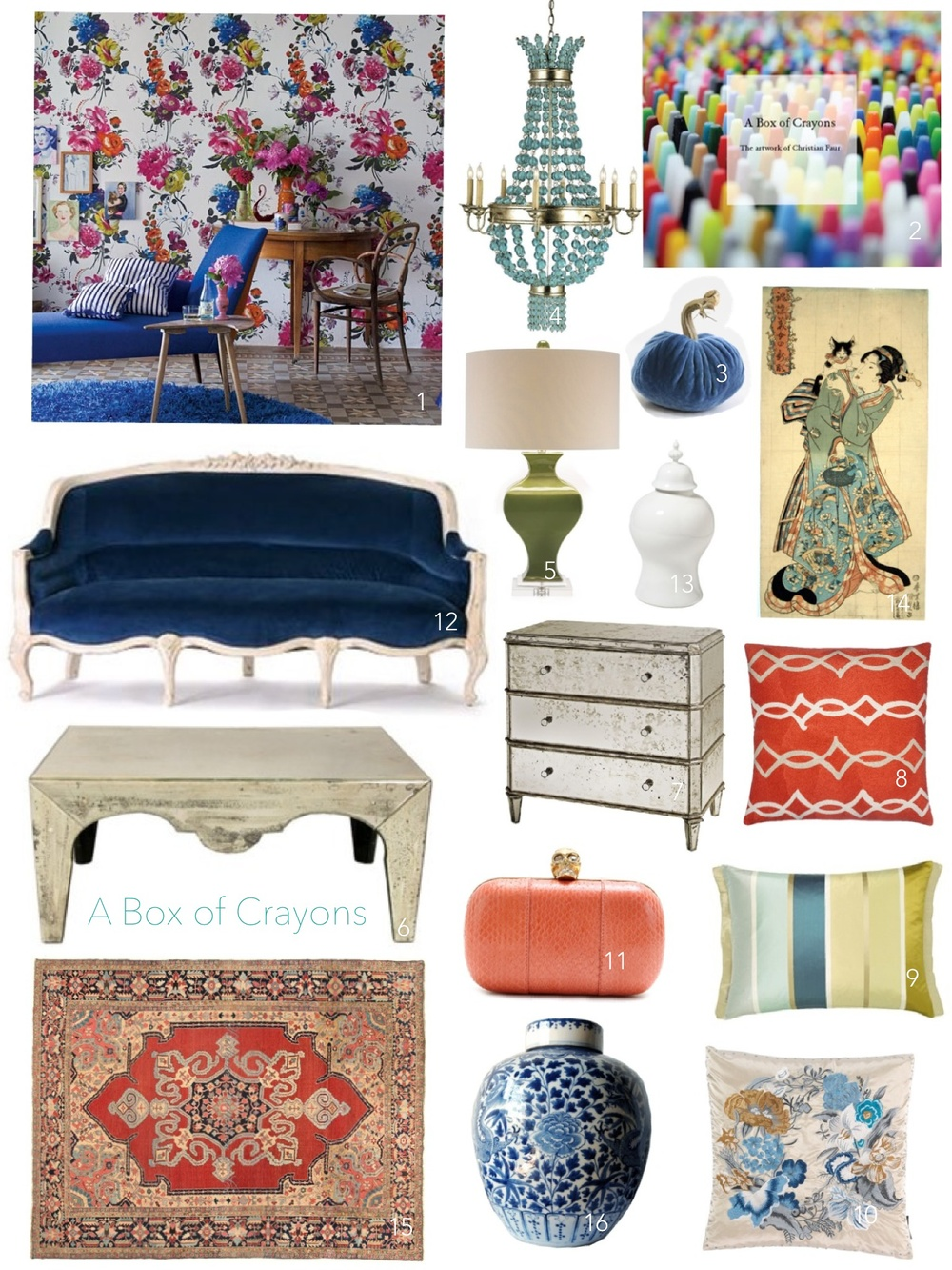 "Layout: Kimberly Kowalski, Allied ASID 1. Designers Guild wallpaper, Amrapali Collection, reminds us of English flower boxes / 2. ""A Box of Crayons: The Artwork of Christian Faur"" / 3. Sapphire blue velvet pumpkin by Plush Pumpkins available at Savvy Surrounding Style / 4-10; 13. Also available through Savvy. Please contact for more information / 11. Coral Snakeskin Clutch - Alexander McQueen / 12. Amelie Sofa - Anthropologie / 14. Antique art featuring Japanese Bobtail / 15. Antique Wool Rug / 16. 19th Century ginger jar"