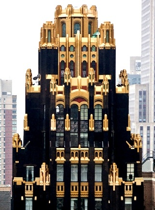 American Radiator Building (American Standard Building) Manhattan, New York.How gorgeous is this mix of Art Deco and Gothic architecture, enhanced by a structure of black brick andgold façade? We've taken our cue...