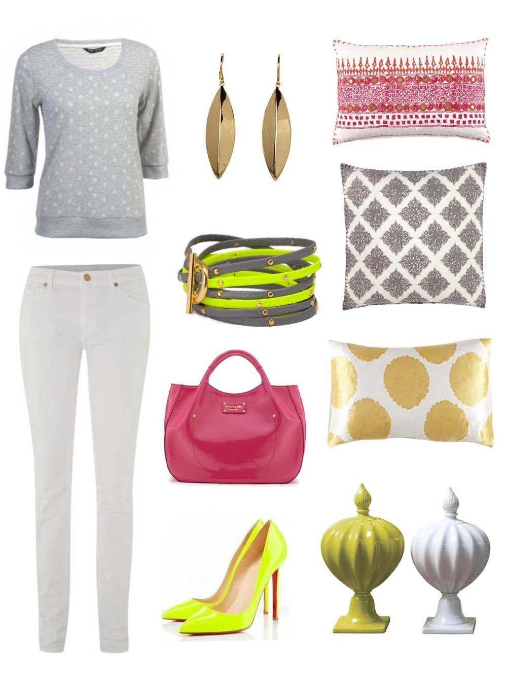 Available through Savvy: jewelry, pillows and pottery / Handbag: Kate Spade / Jeans: 7 For All Mankind / Shoes and Sweater: Polyvore Kimberly Kowalski, Allied ASID