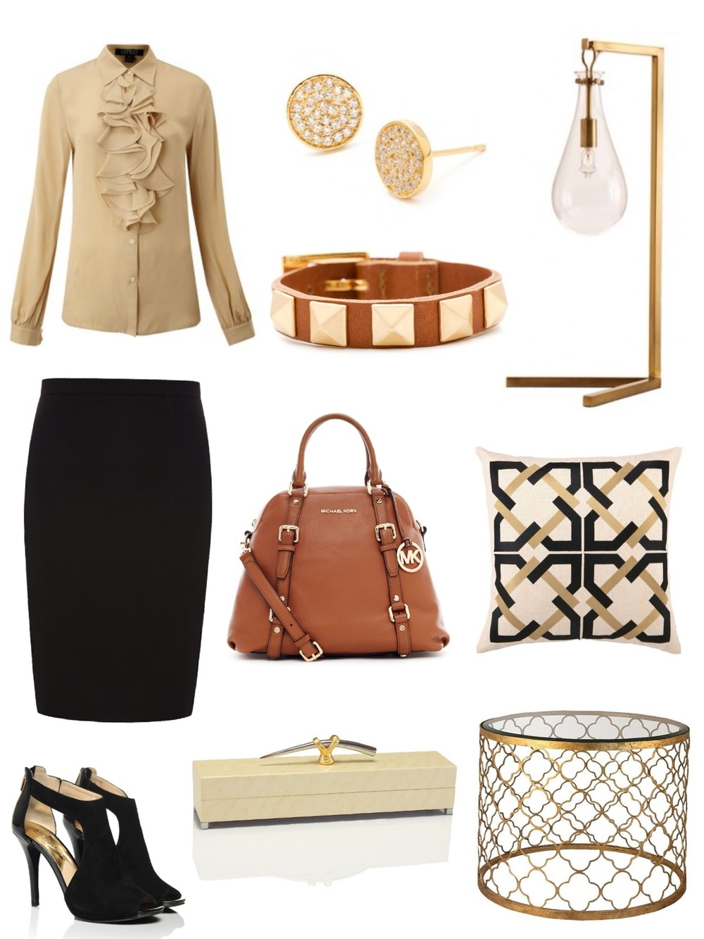 Available through Savvy: jewelry, lamp, pillow, table, decorative box / Handbag, shoes: Michael Kors / Blouse: Ralph Lauren / Pencil skirt: JCrew Kimberly Kowalski, Allied ASID