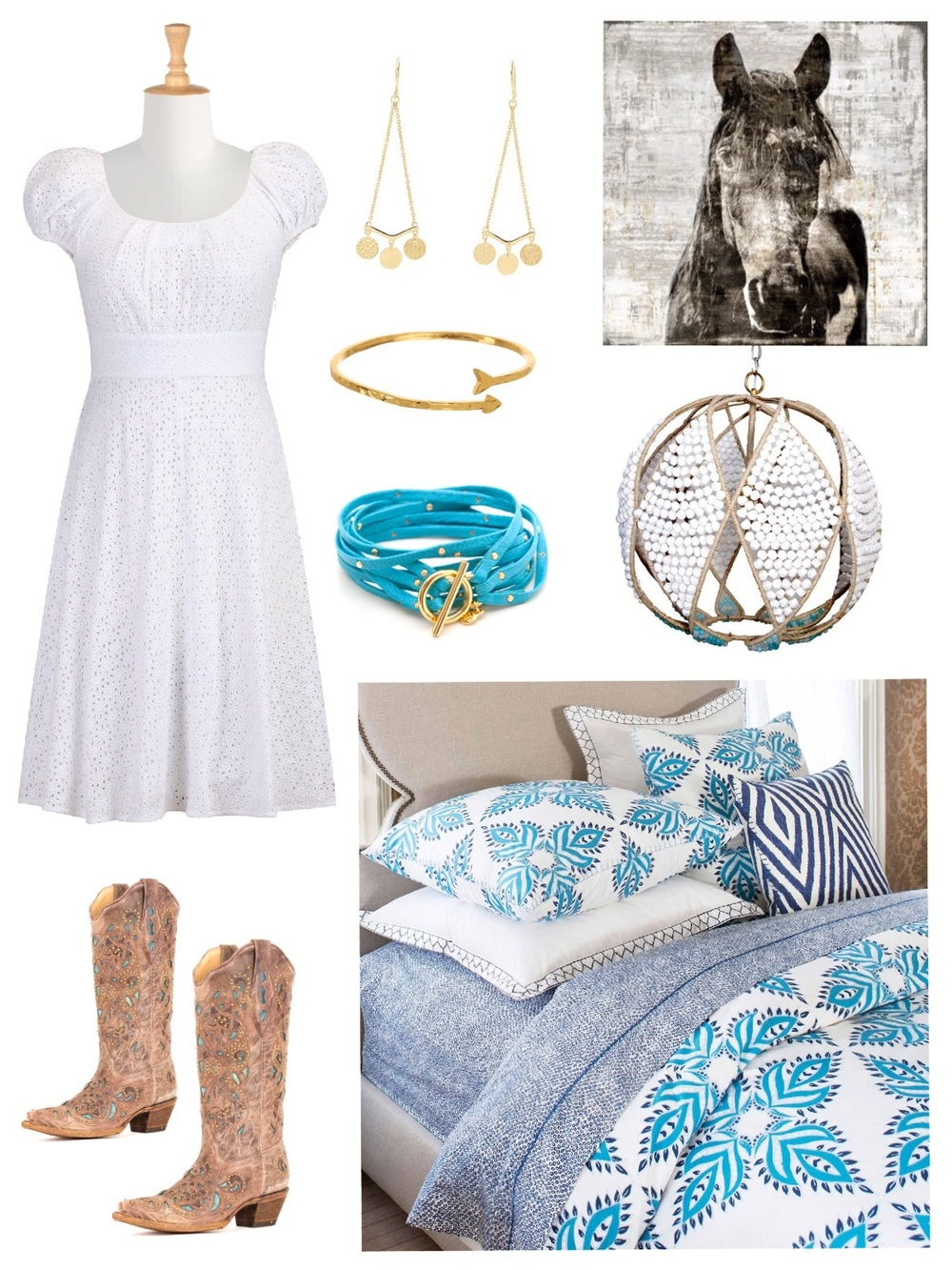 Available through Savvy: jewelry, artwork, chandelier, bedding / Dress: Anthropologie / Boots: Country Outfitter