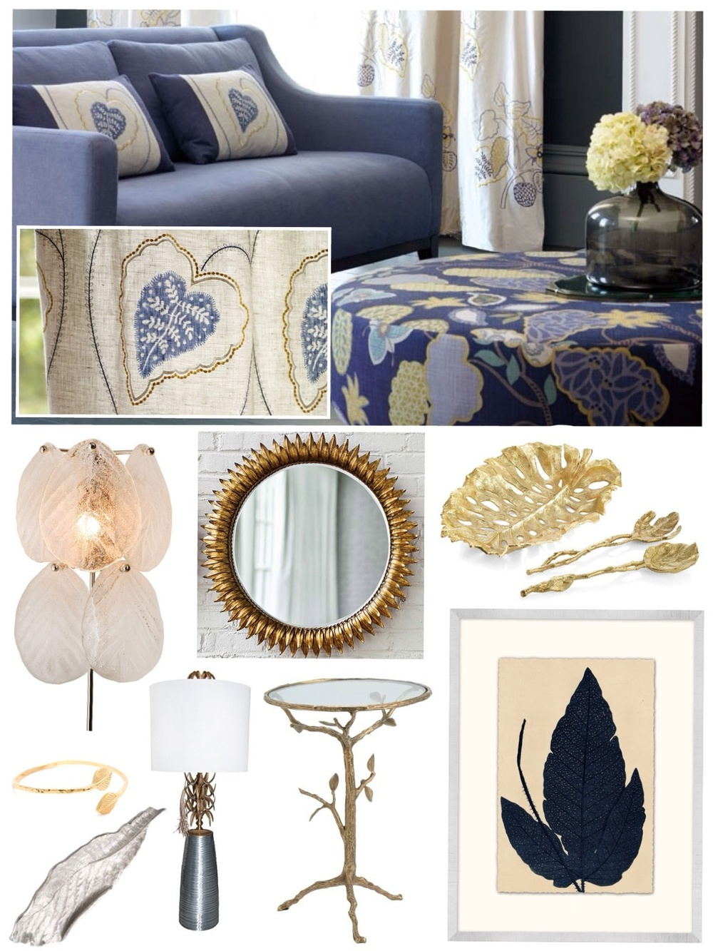 Available through Savvy: leaf motif textiles, trays, serving platters, utensils, lamps, table, mirror, artwork and bracelet. Please contact for more information.  Kimberly Kowalski, Allied ASID