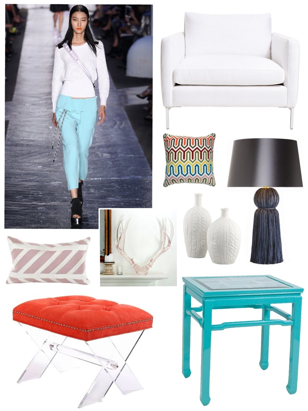 "Runway image: Rag and Bone / Available through Savvy:  pillows, ottoman with lucite base, lucite antlers, tassel lamp, ""knit sweater"" vases, turquoise side table / Chair: ABC Home Kimberly Kowalski, Allied ASID"