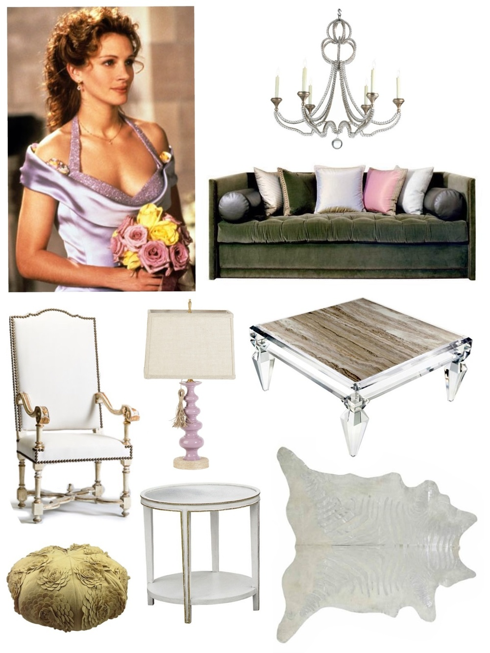 Image: Julia Roberts in My Best Friend's Wedding. Though this film is beginning to get a little dated, these misty pastel colors are actually quite current. We took inspiration from Julia's dress and flowers, and created a feminine space fit for the most sophisticated client. Available through Savvy: lamp, side table, metallic hide rug, floral pouf / Chair: Tara Shaw / Chandelier: Niermann Weeks / Sofa: John Saladino Kimberly Kowalski, Allied ASID