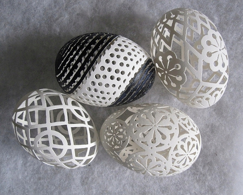Hand-carved goose eggs