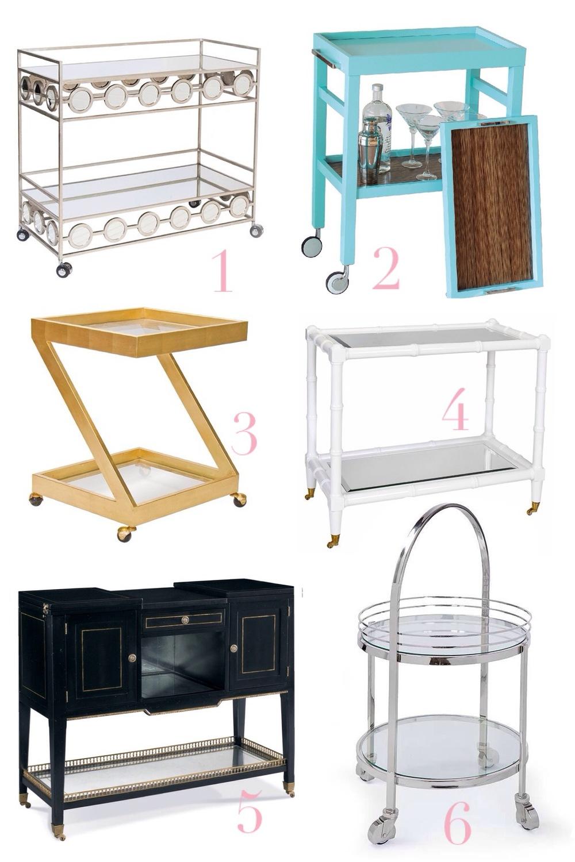 1. Carr Cart / 2. Avalon Cart / 3. Lenox Cart / 4. Palm Cart / 5. Draper Cart / 6. Regina Cart