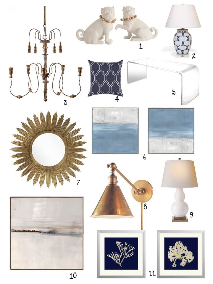 "1. Ceramic Pug sculptures / 2.Ming Lamp/ 3. Chandelier / 4. Gothic Pillow in indigo / 5. Lucite coffee table / 6. Artwork / 7. Starburst Mirror 42"" Dia. / 8. Brass pharmacy pendant light / 9. Double gourd lamp / 10. Artwork / 11. Sea coral artwork in indigo"