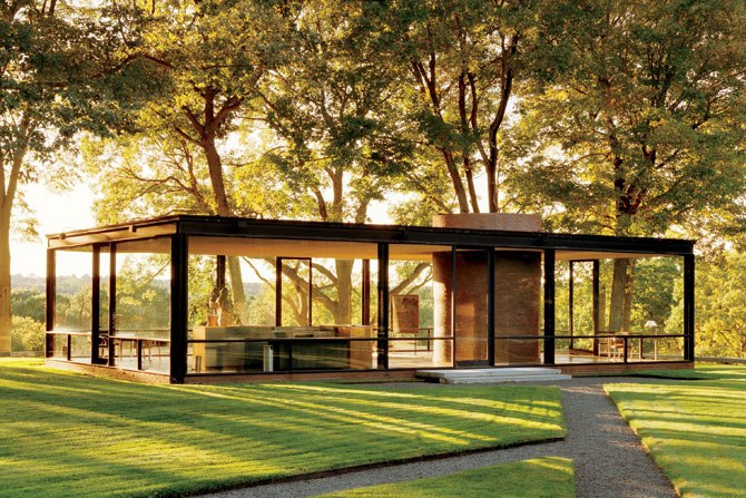 Philip Jonson's Glass House, New Canaan, Connecticut.