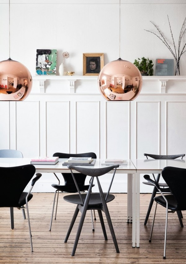 Copper pendants by Tom Dixon.