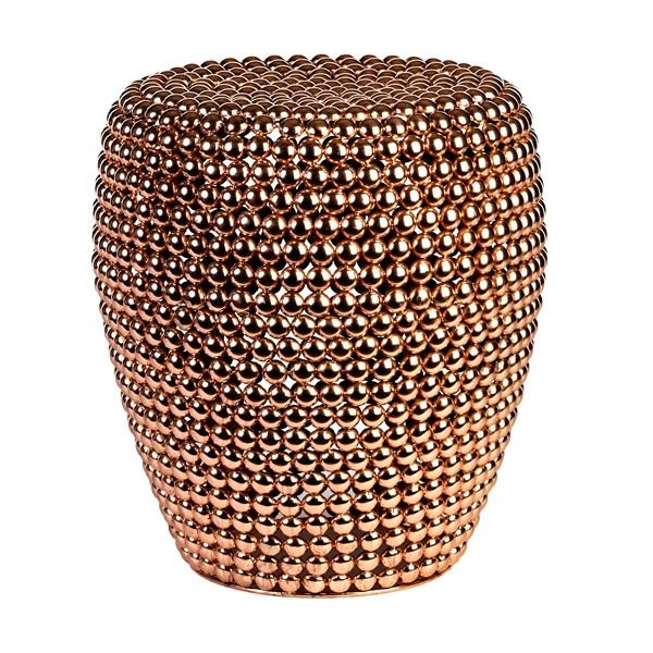 Copper nailhead garden seat.