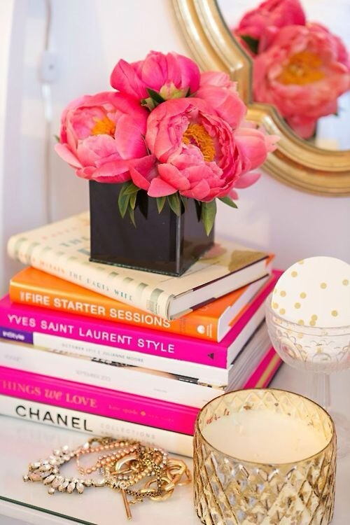 Peonies are my favorite flower, they never disappoint - but, these books also add great color. Set bright bindings about for a little lift.