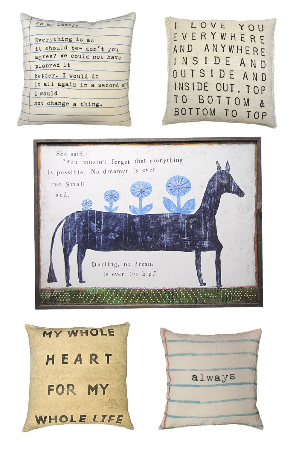 Available through Savvy: Wonderful Folk Art-inspired prints and pillows made from linen...and heart. Book Collection Art Prints (below) - hand framed in reclaimed wood. Each print is available in White, Cream, and Charcoal.  2' x 3'  and 3' x 4'.