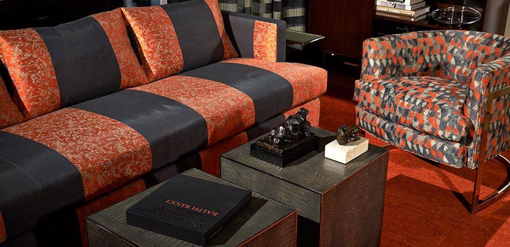"IMAGE SOURCE: Robert Allen  On Sofa: Brilliantine ""Ember"" On Chair: New Frontier ""Smoke"""