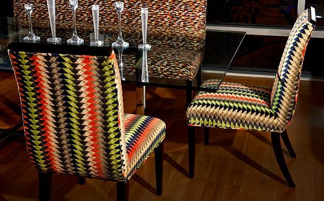 """IMAGE SOURCE: Robert Allen   On Chairs: Cairo Bazaar """"Smoke"""" On Settee: Moroccan Tile """"Lemon Drop"""