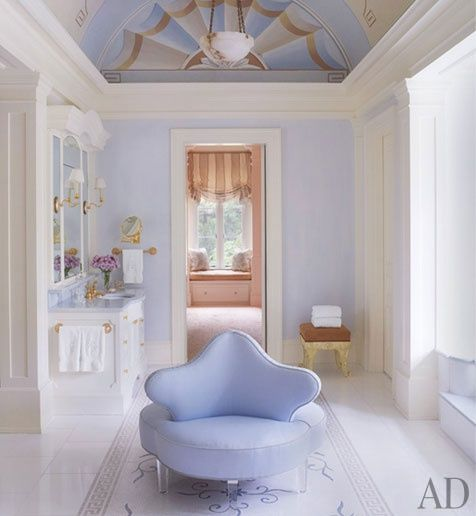 Image: Architectural Digest  A pink that borders on periwinkle is a nice change of pace. Pink tones can be seen peeking through from the room beyond.