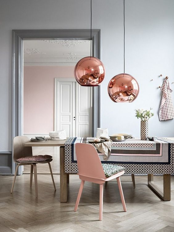 Image: Brabbu  Small doses of the Color of the Year work beautifully with gorgeous rose gold metal pendants as the finishing touch.