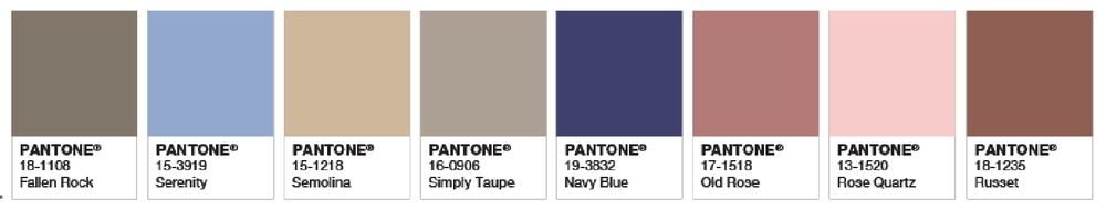 Image: Pantone   A few of Pantone's more masculine color suggestions that pair well with Rose Quartz and Serenity.
