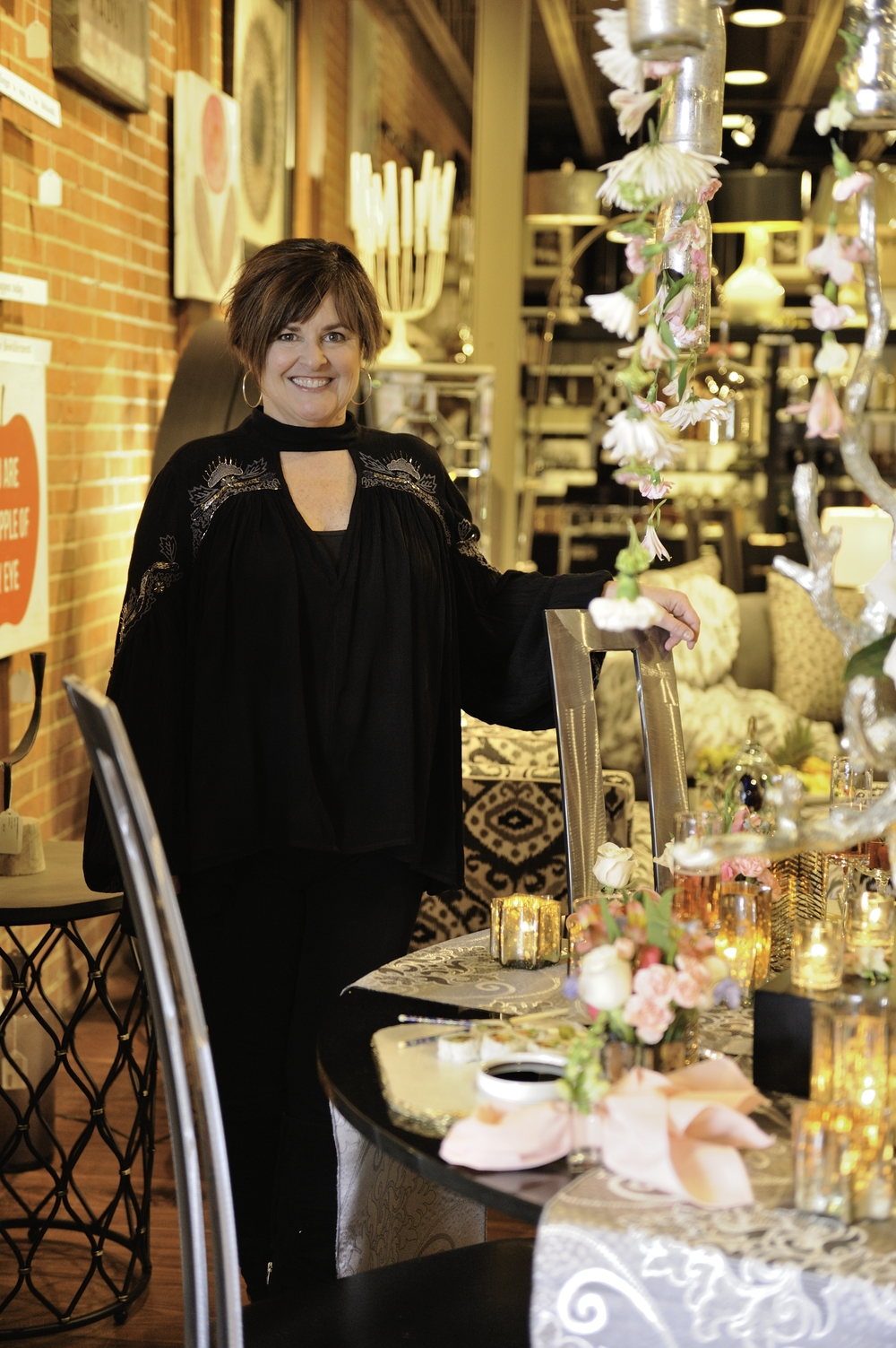 Designer Kathleen Matthews and her magical tabletop creation.