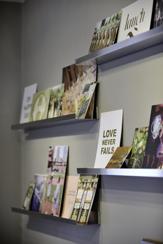 Floating metal shelves offer more space for inspiration.