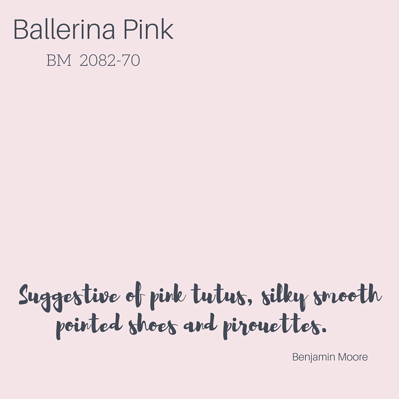 """I love Ballerina Pink by Benjamin Moore. This soft, beautiful color is fresh and makes you want to take a deep breath and just relax. Not just for little girls' rooms, this happy hue pairs well with sophisticated greys and crisp whites. It looks spectacular on a ceiling, above a white, beadboard wainscot, or dressing an entire room in pink loveliness."" -- Kathleen Matthews, Interior Designer"