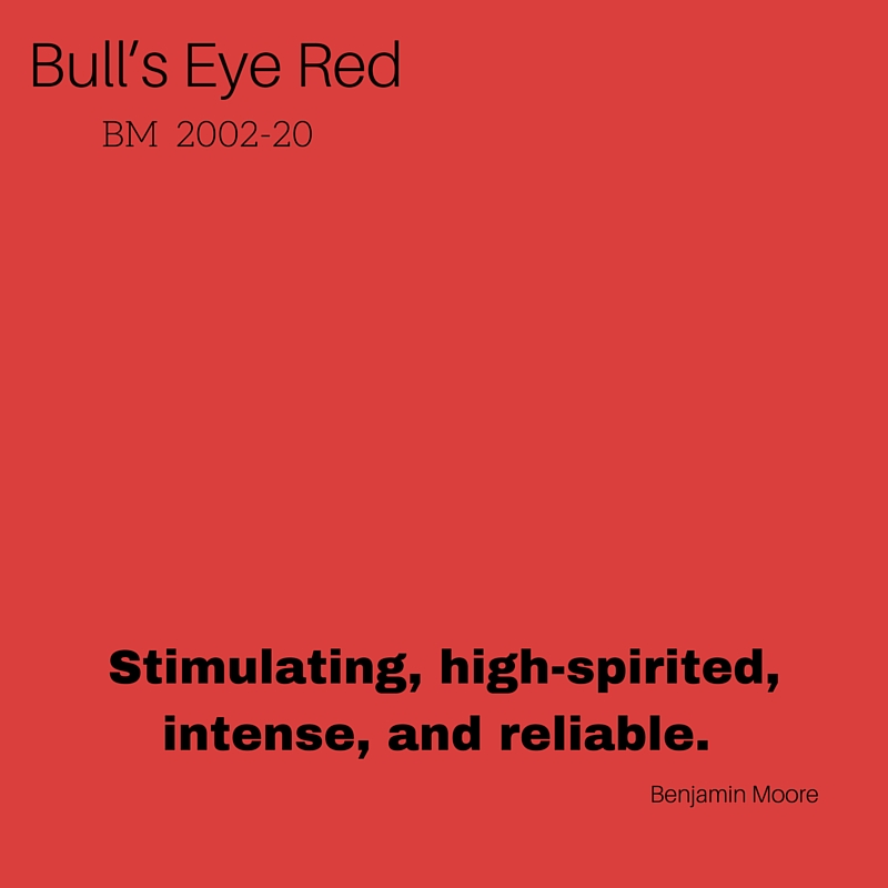 """""""Reminiscent of Pantone's 'Fiesta',"""" Benjamin Moore's Bull's Eye Red is my pick for a haute summer hue. This vibrant color is a high energy mix of orange and deep red. Since this red is so bold, bright, and optimistic, I would use it in small doses in an interior, so as not to overwhelm the eye. Think accents, such as rugs, dishes, trays, and art. -- Lindsey Jungk, Project Manager"""