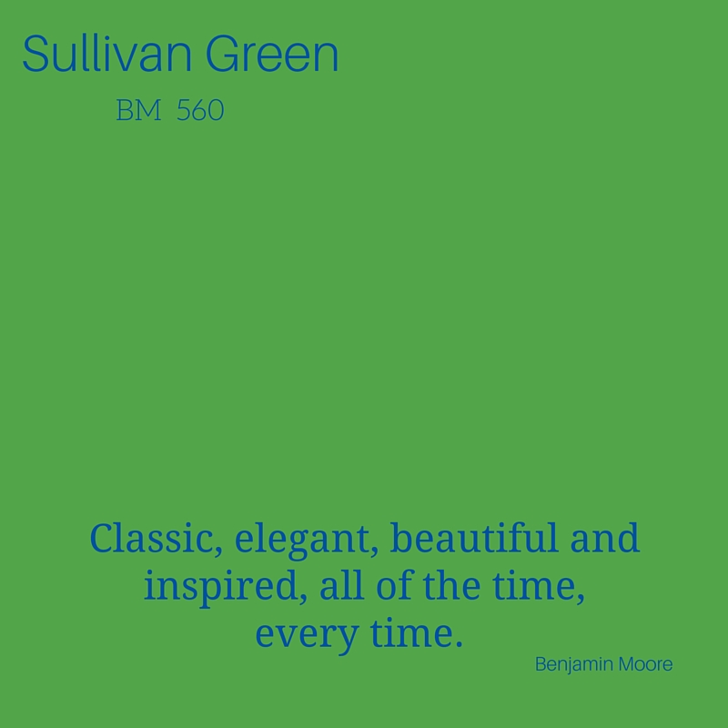 """Summertime is the perfect time to embrace green, and Benjamin Moore's Sullivan Green is my all-time favorite. Similar to Pantone's 'Green Flash,' this beautiful grass green hue plays well with blues and whites. It's a classic color that reminds me of being outdoors and enjoying nature. Use this green inside to bring the outdoors in. Great as an accent wall or when used in accessories, artwork, and even on patterned fabrics."" -- Laurie Morris, Project Manager"