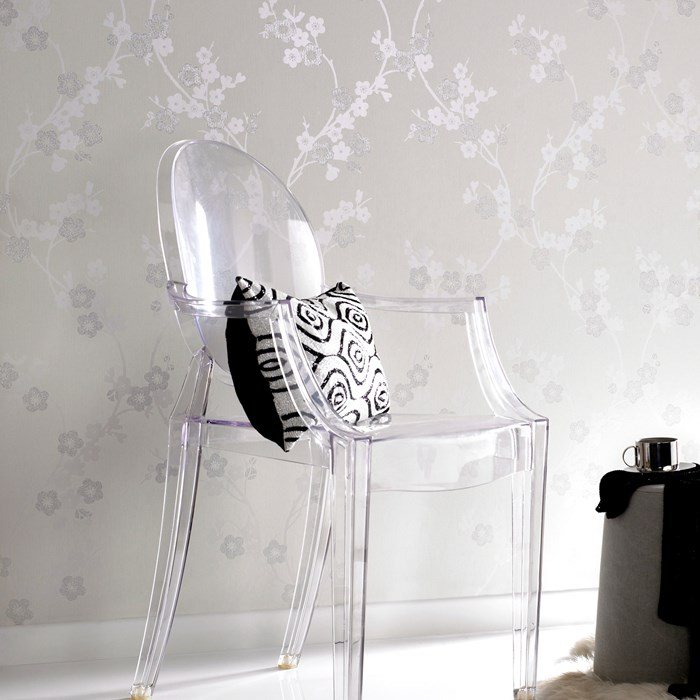 """""""Cherry Blossom"""" in white mica by Graham & Brown"""