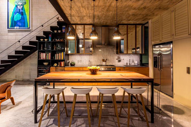 "Mexican Retreat designed by Taller Estilo Arquitectura  Image: DI Interior Design Blog ""Central to the design vision was the use of raw, ready materials throughout, including this reclaimed wood dining table."""