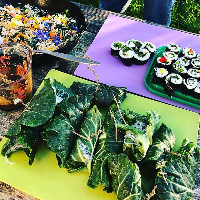 Cooking from the Slide Ranch garden: collard wraps, nori rolls and stir fry with rice and edible flowers! #gardeneducation