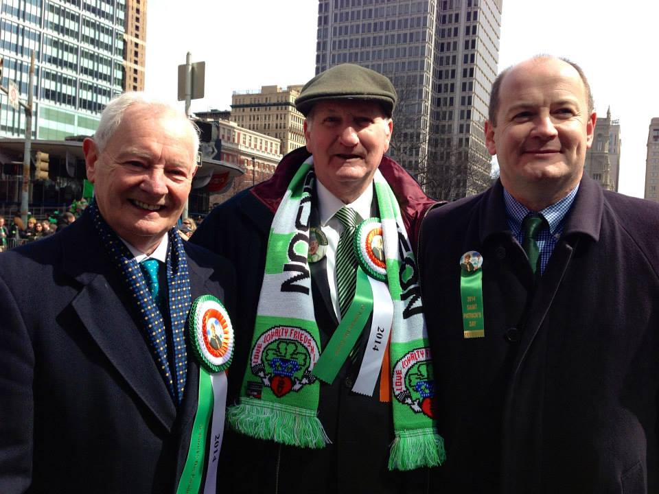 Deputy Consul Peter Ryan with Minister McGinley and John Dougherty at the 2014 St. Patrick's Day Parade