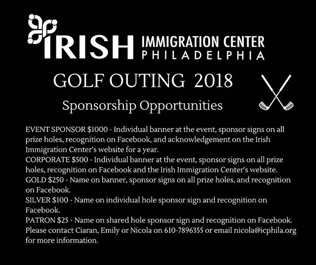 We have some great sponsorship opportunities available for our 2018 Golf Outing. Contact Nicola or Ciaran on 610-789-6355 for more information. #golfouting