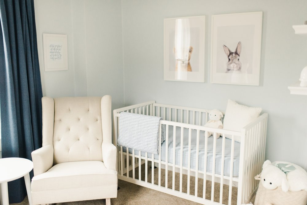 White and blue baby nursery