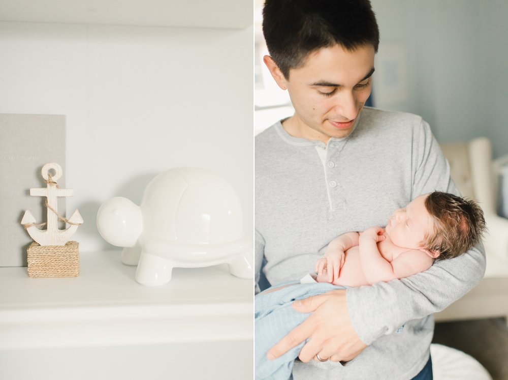 father and baby boy in neutral nursery