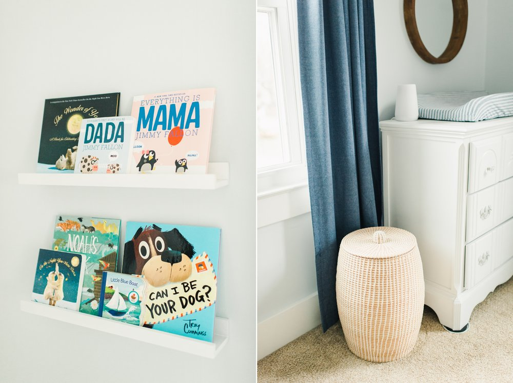 baby boy nursery floating bookshelves