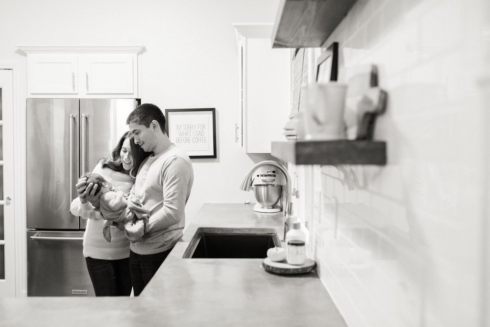 modern, farmhouse, mid century kitchen newborn photo session