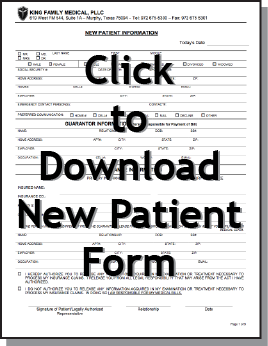 If this is your first time visiting our office or if your medical information has changed, please fill out the form above and bring it in for your visit.