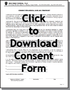 The form above gives consent for treatment, services or other procedures as ordered by the physician. It also allows disclosure of medical information to a family member at a patient's request.